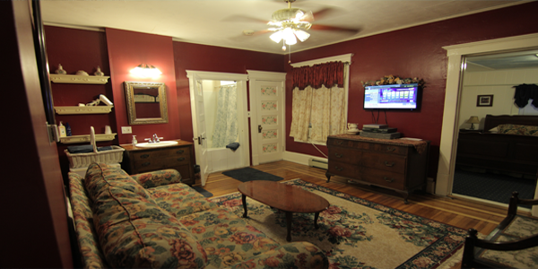 "Two rooms of pure fun! Living room has a queen size pull-out ""Featherbed"" couch, New FLAT SCREEN TV, Mini refrigerator, Cozy Jacuzzi for 2, Private bathroom with shower and air conditioning. Free WiFi"