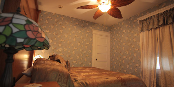 King Size Bed accompanied above by The Beautiful 5 Leaf Tropical Ceiling Fan. Private Bathroom, Free Wi-Fi