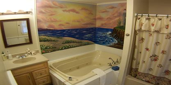 Bathroom has Extra Large Jacuzzi for two, shower for two and a mural that surrounds you as you soak in our jacuzzi.  Private Bathroom